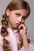 model Krashnikova Valeriya    Year of birth 2011    Eyes color: grey-green    Hair color: light brown